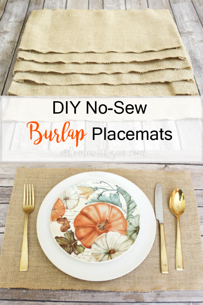 DIY - No-Sew - Burlap Placemats - At Home With Zan