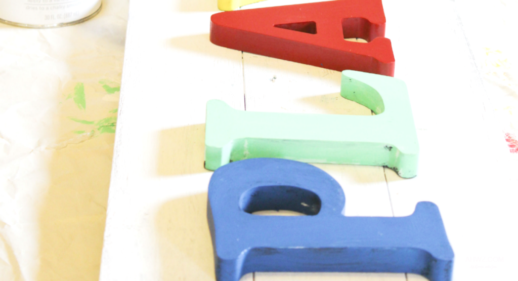 DIY play sign with colored letters