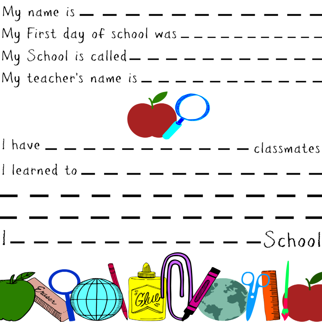 First Day of School Memory Keepsake Printables – for Smaller Children