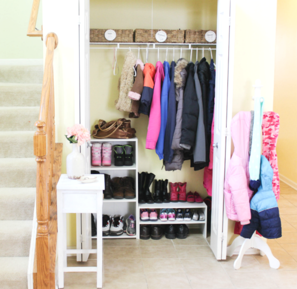Entryway Organizing with shoes and coats