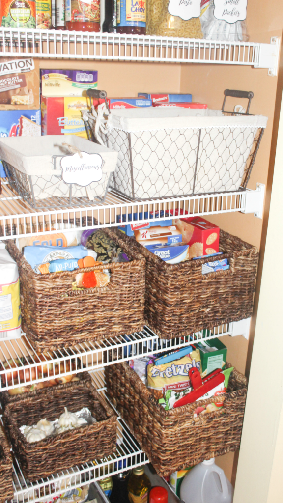 pantry organizing with baskets