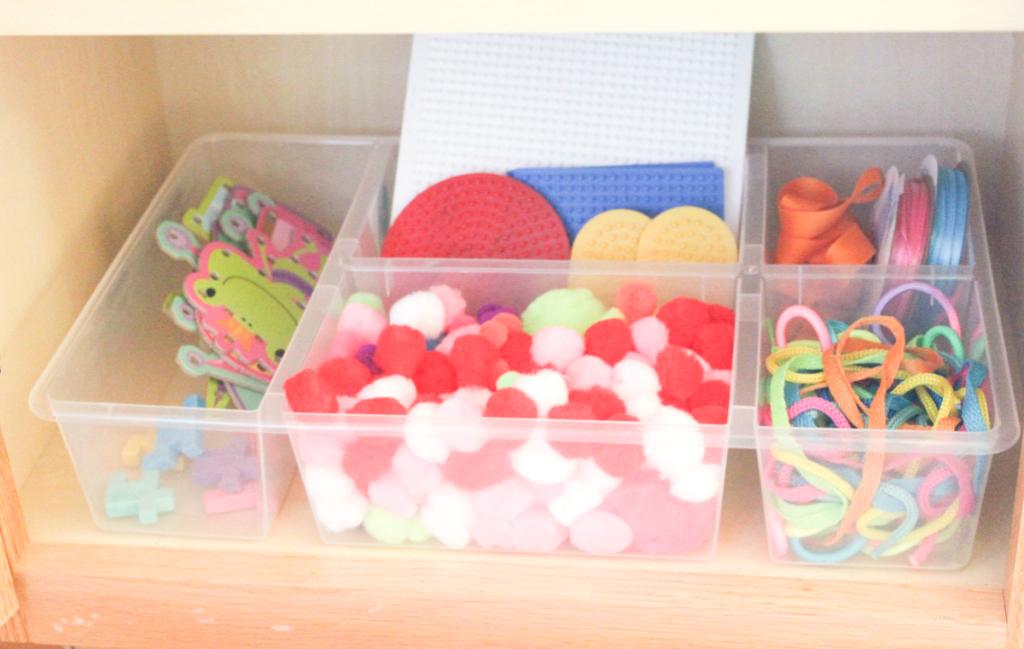 kitchen drawer organization - craft bin