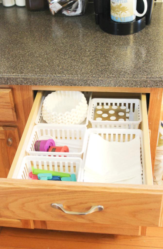 kitchen drawer organization - napkin coffee drawer