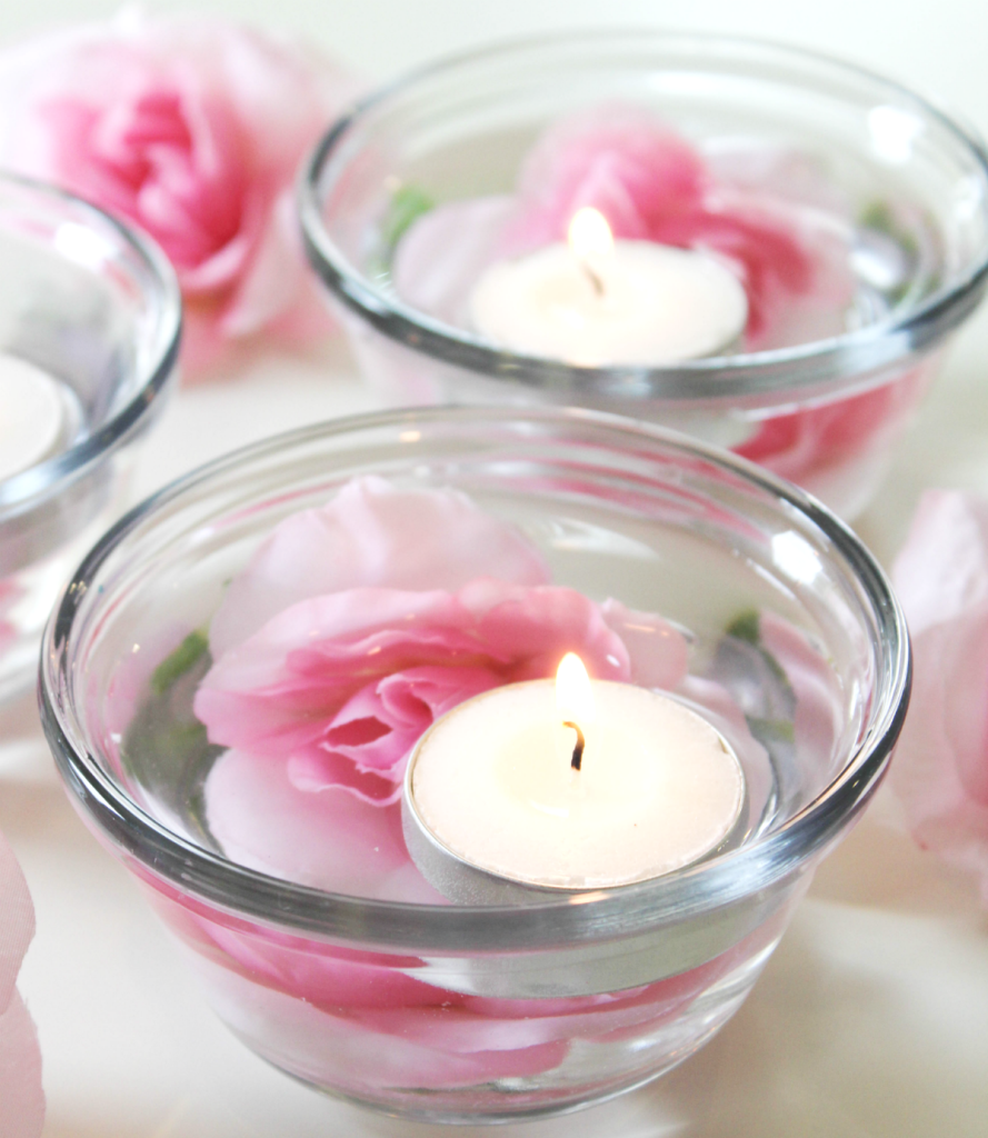 Spring centerpiece with candles