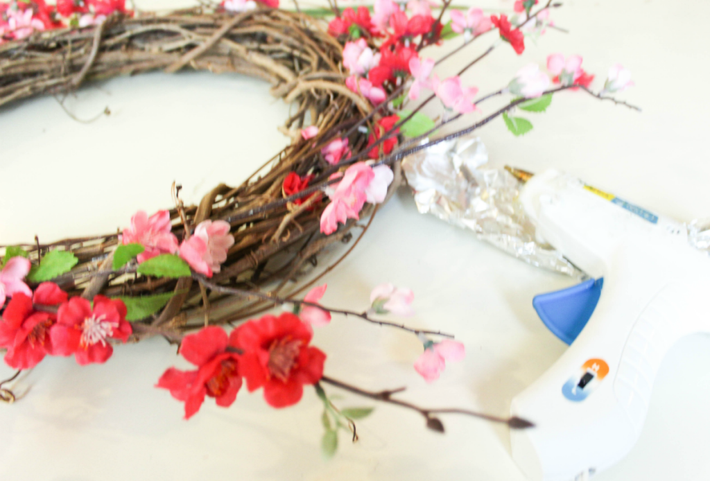 DIY Summer Wreath - Spring Wreath - Faux Flowers - Gapevine Wreath - Tutorial - At Home With Zan
