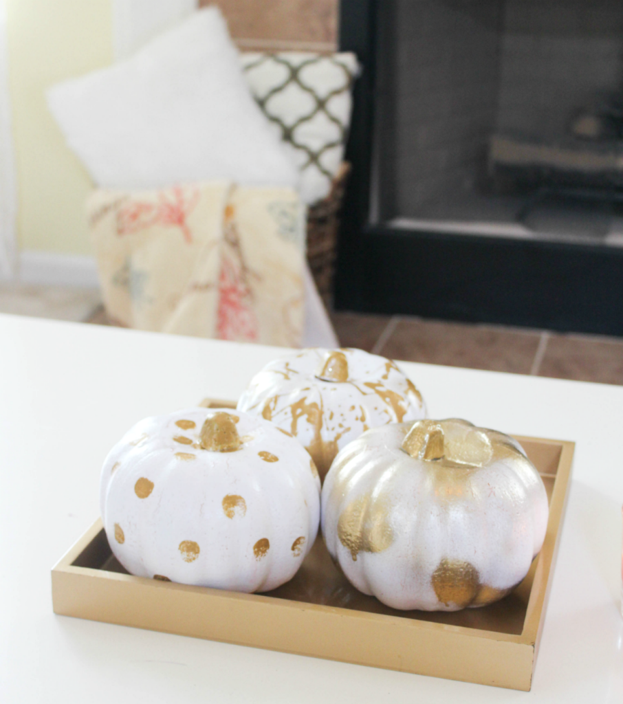Painting Pumpkins - Gold - White - Painted Pumkpkins - At Home With Zan-