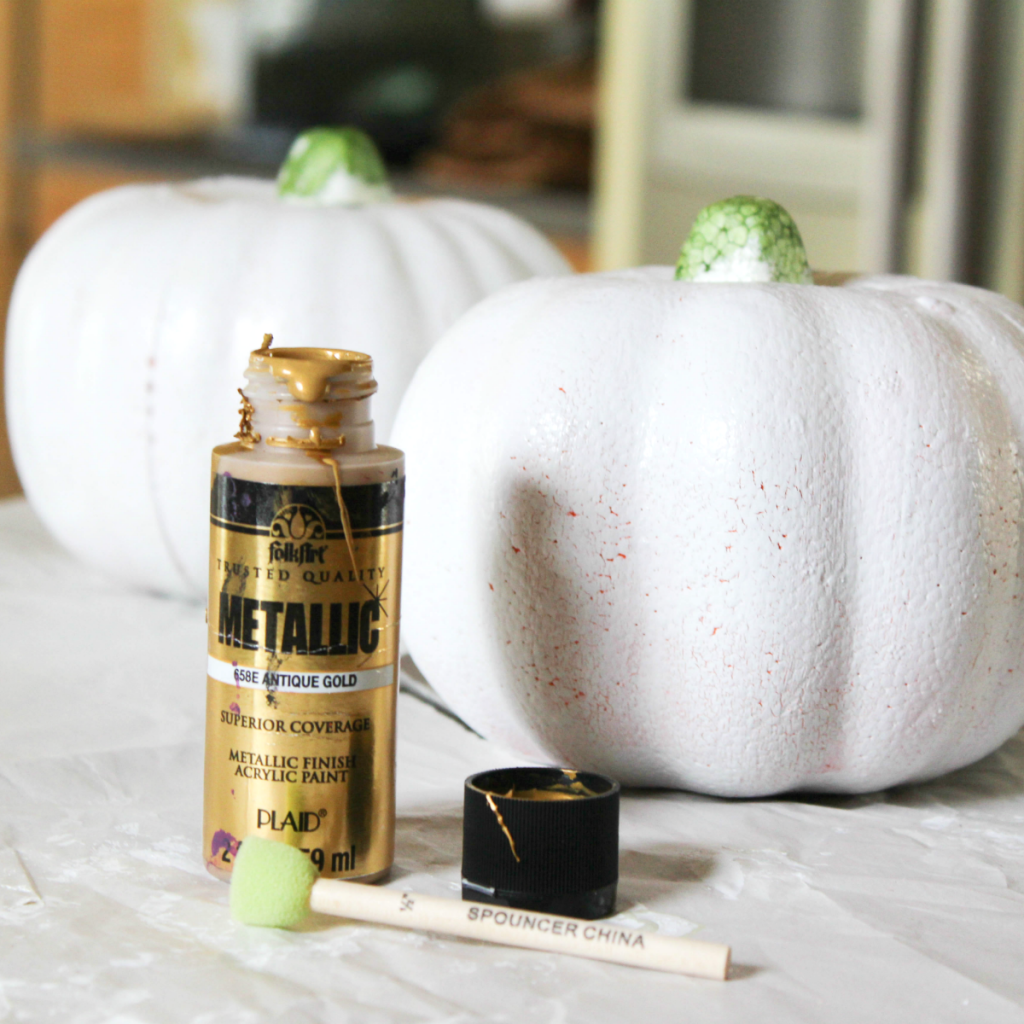Painting Pumpkins - With Metallic Paint - At Home With Zan -