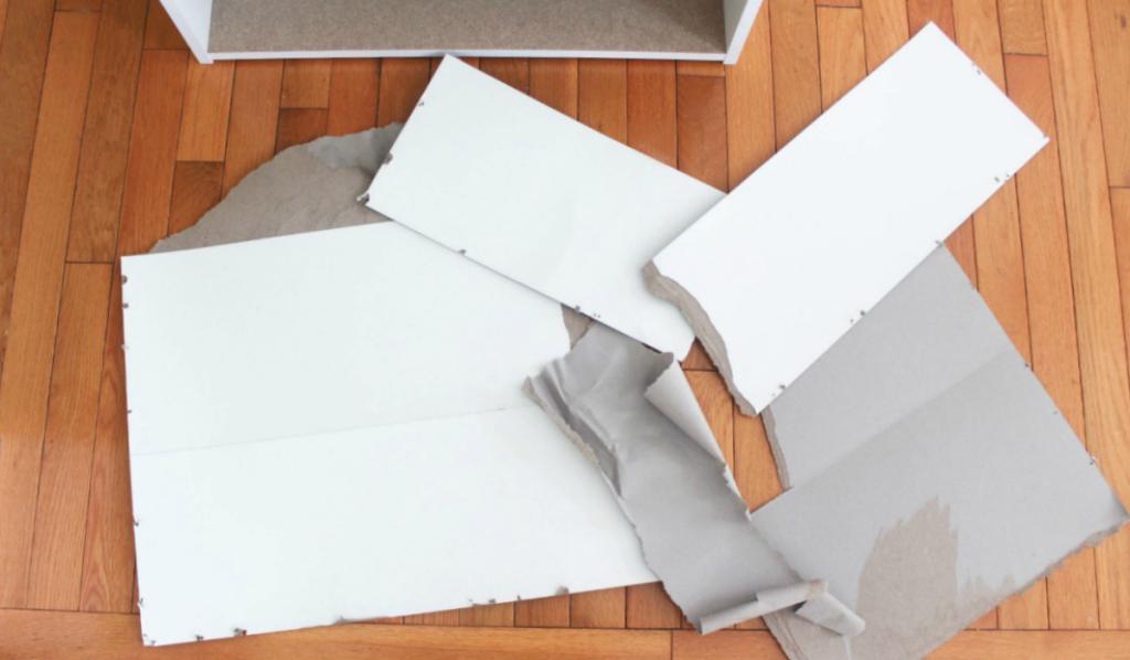 How to Restore a Broken Bookshelf - New - Cardboard Backing - New Bookshelf - At Home With Zan