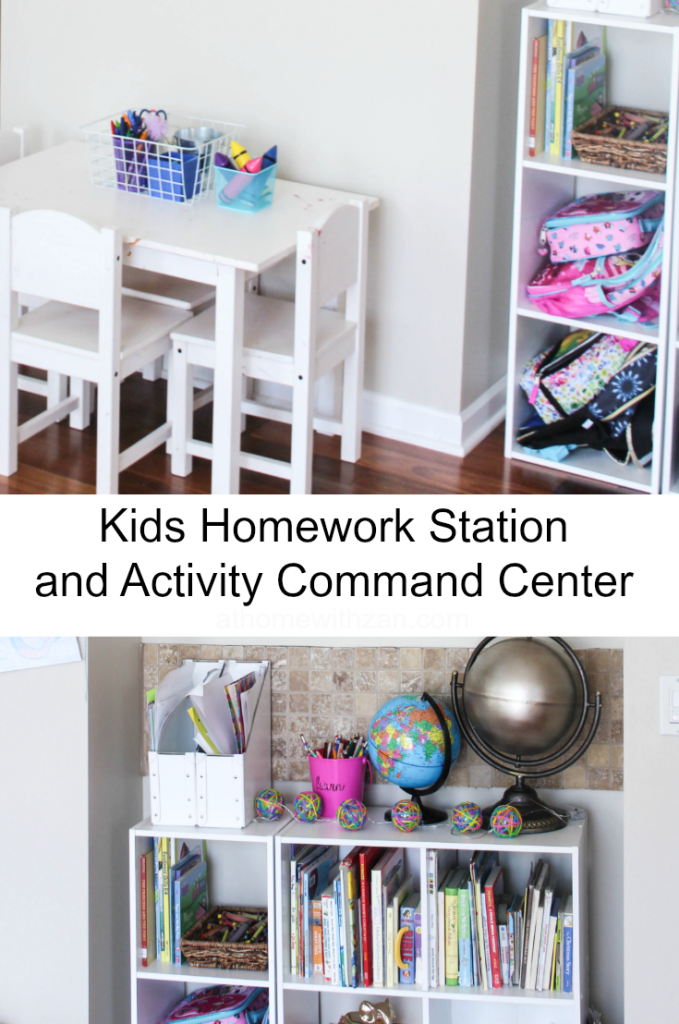 Kids Homework Station and Activity Command Center-At Home With Zan