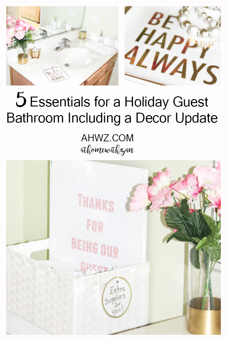 5 essentials for a holiday guest bathroom including a for Bathroom decor essentials