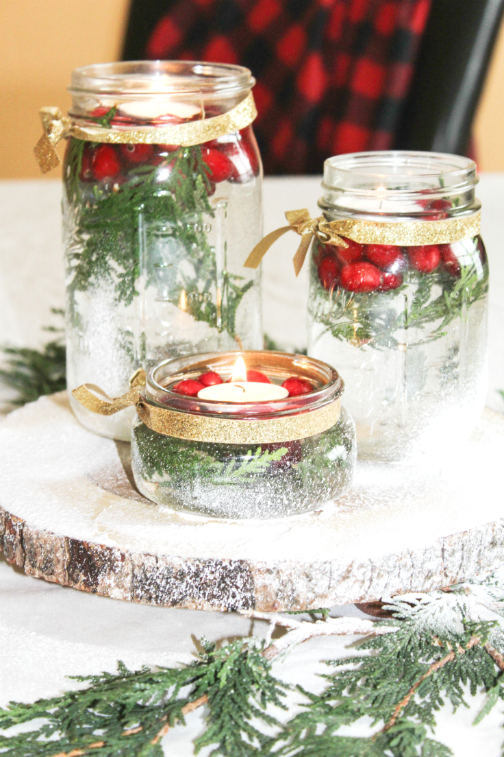 Floating candle holiday centerpiece at home with zan