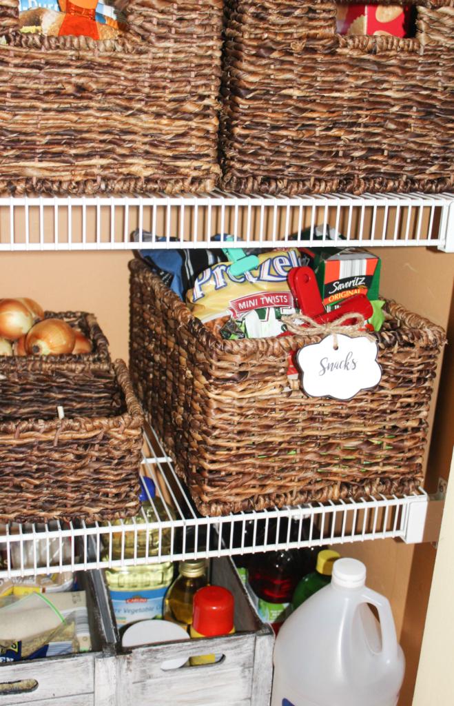 pantry organizing - snack basket