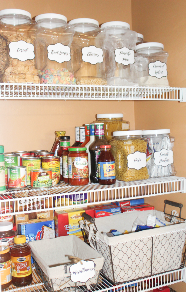pantry organizing with jars and baskets