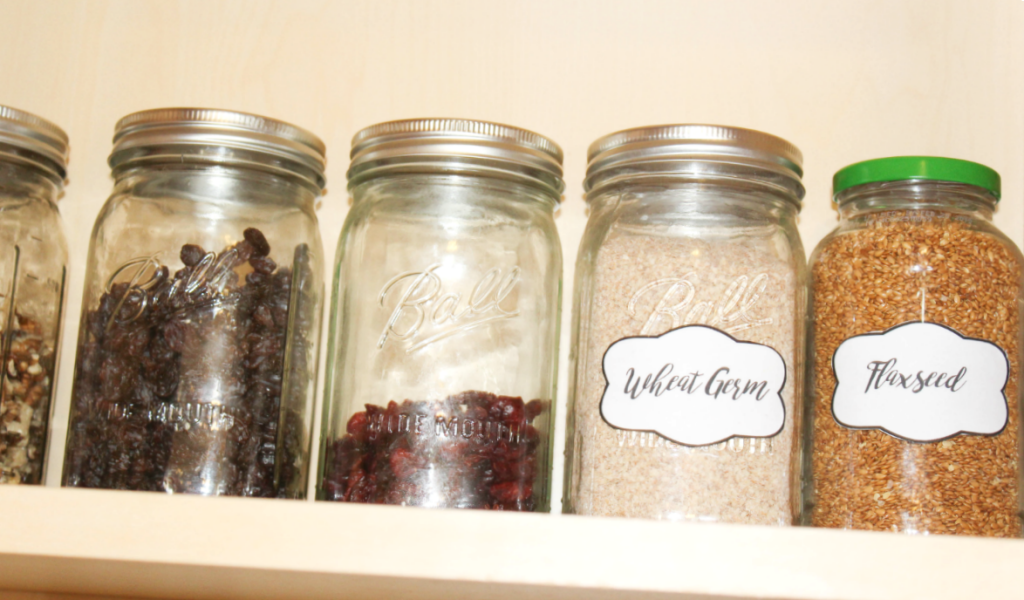 pantry organizing with labels