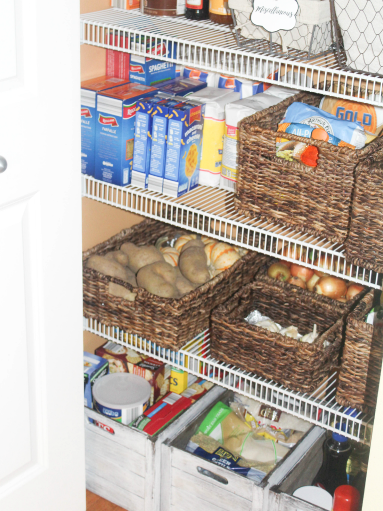 pantry organizing with wicker baskets