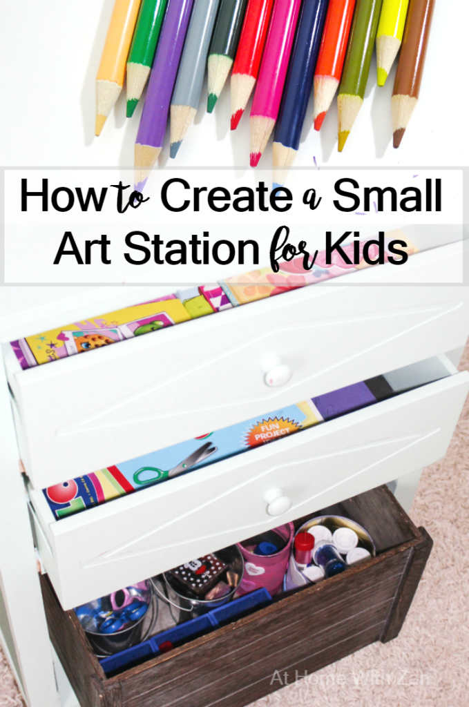 How to Create a Small Art Station for Kids from At Home With Zan