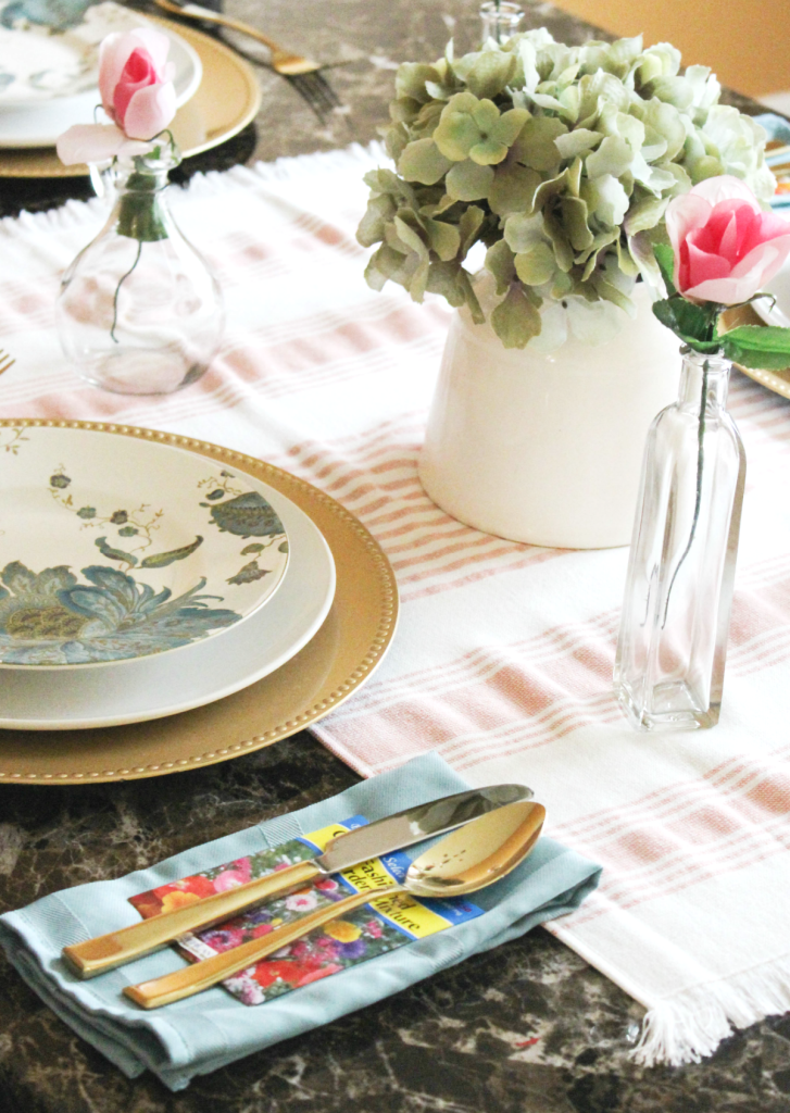 Spring table setting - gold utensils
