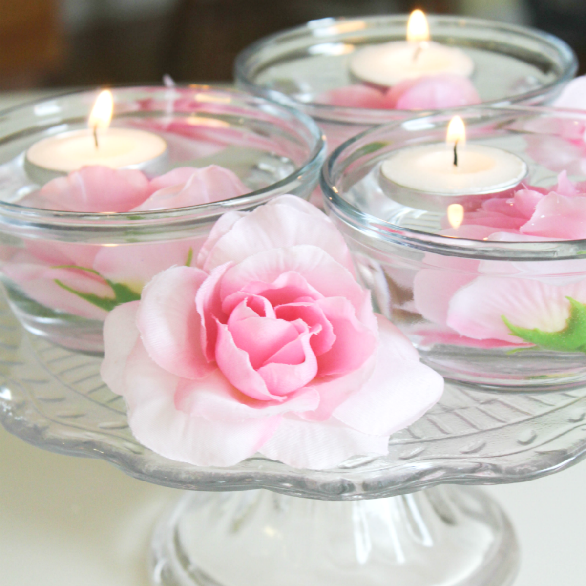 Easy Floating Candle Centerpieces: Pretty In Pink Spring Floating Candle Centerpiece