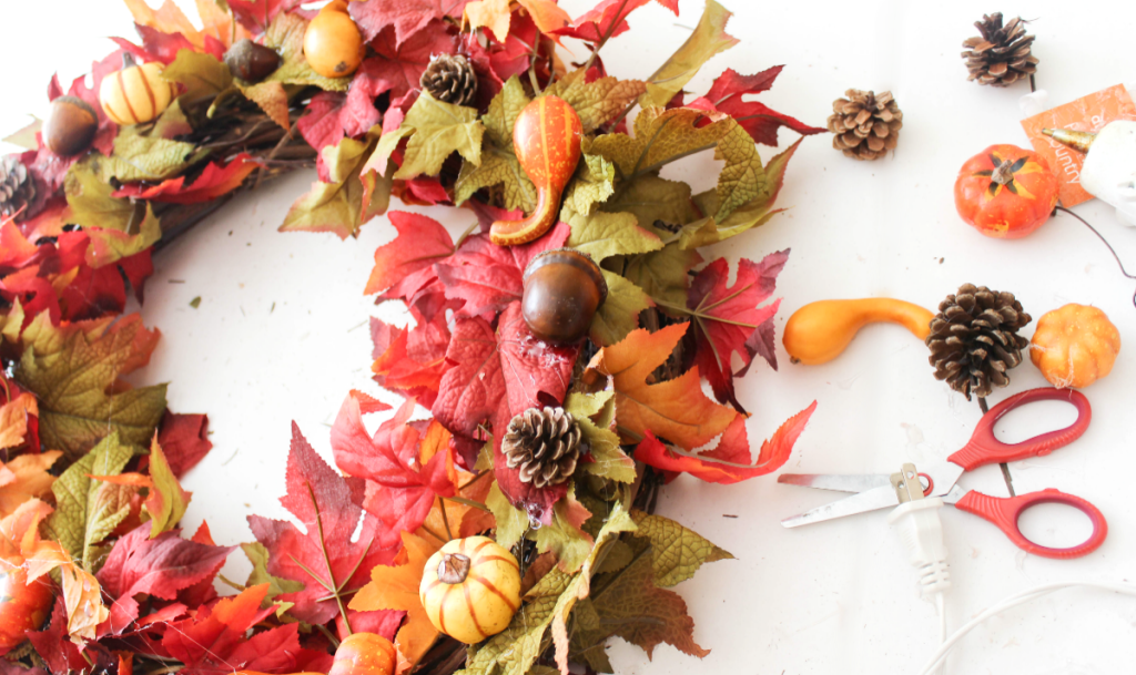 DIY Fall Wreath - Front Door - Quick & Easy - At Home With Zan