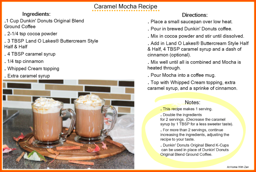 Caramel Mocha Recipe - With Dunkin' Donuts Original Blend Coffee - At Home With Zan-