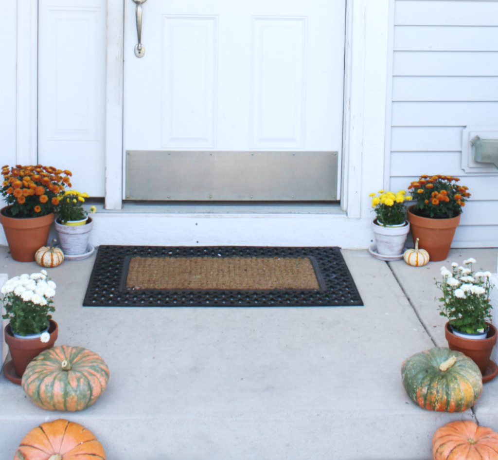 Fall Front Porch - With Pumpkins and Mums - At Home With Zan