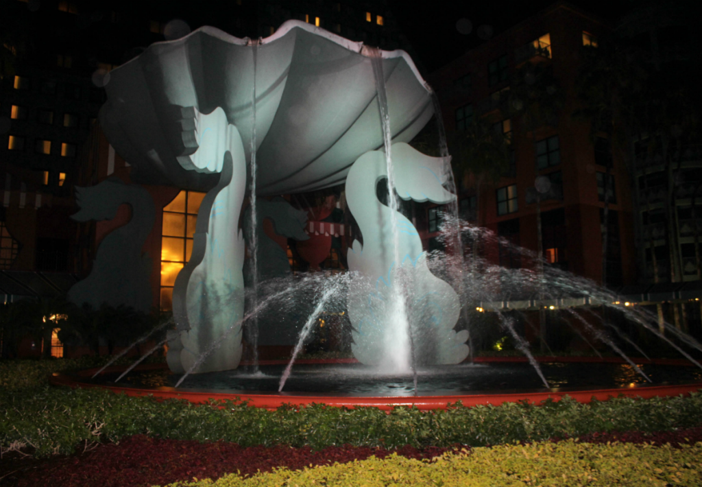 Disney -Dolphin -Resort-Review-Hotel-Colorful Water Fountain-White Lights -Travel-Disney Vacation-Orlando-At Home With Zan