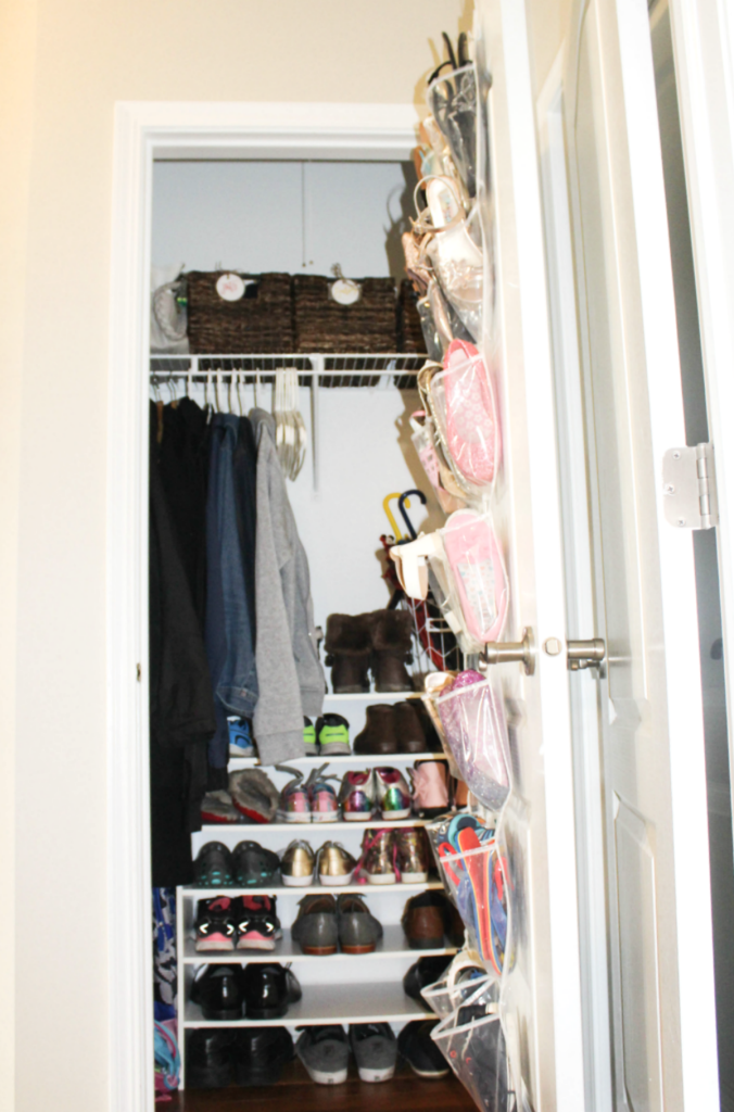 Small Entryway Closet Organization for Shoes- Closet Organization - Hallway Closet - At Home With Zan-